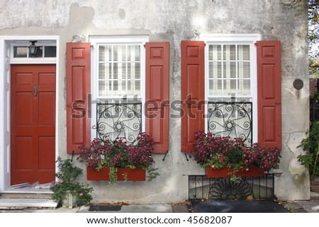 Exterior details of  Charleston's building - stock photo