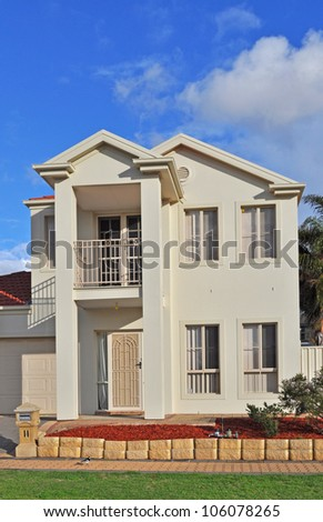 Exterior facade of a Australian home - stock photo