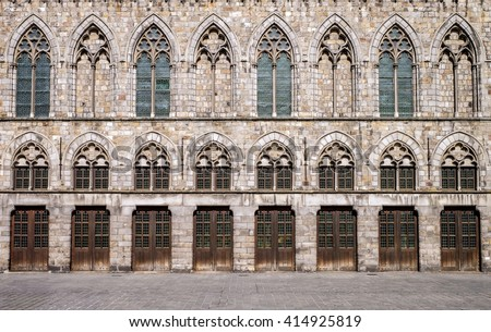 Exterior facade of the medieval Cloth Hall in Ypres (Ieper),Belgium, which was reconstructed between 1933 and 1967 following destruction in the World War I conflict