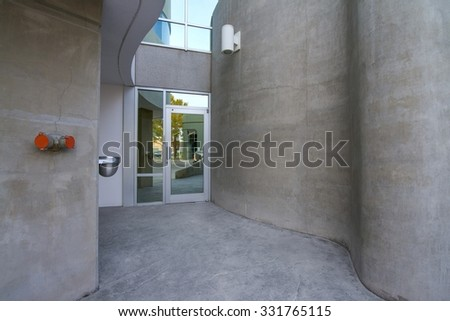 exterior hallway leading to office doors