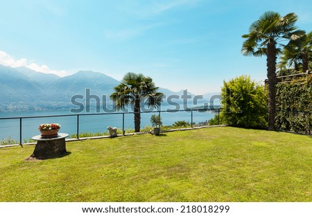 Exterior house, landscape view from the garden - stock photo