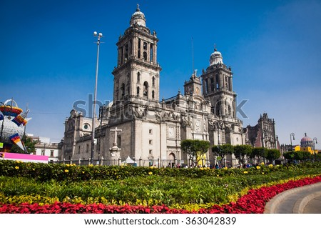 Exterior Metropolitan Cathedral in Mexico City, Latin America. - stock photo