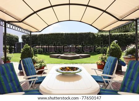 Exterior modern style villa, patio - stock photo