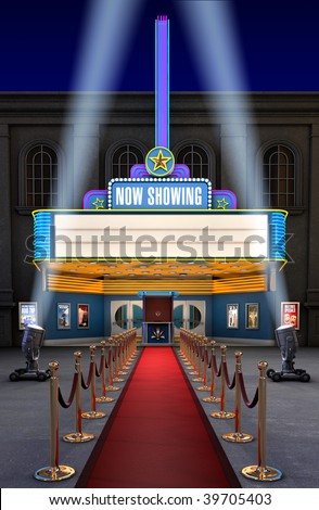 Exterior night shot of a retro illuminated neon movie theater - stock photo