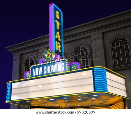 Exterior night shot of a retro illuminated neon movie theatre - stock photo