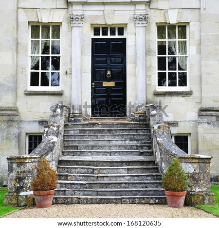 Exterior of a Georgian Era English Mansion - stock photo