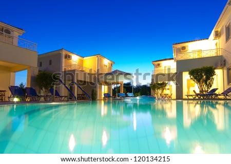 Exterior of a luxurious villa at Greek  resort - stock photo