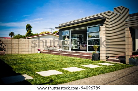 Exterior of a Modern Designer Home - stock photo