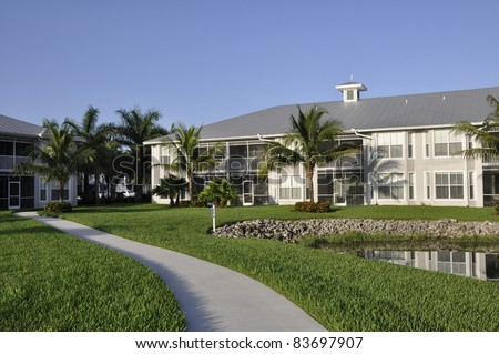 Exterior of a modern resort building in Naples, Florida - stock photo