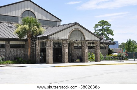 Exterior of a modern school building in South Carolina. - stock photo