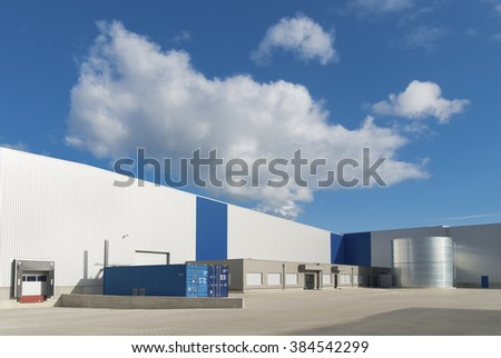 exterior of a newly build warehouse  - stock photo