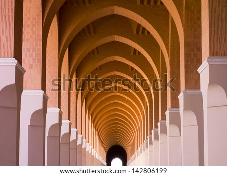 Exterior of a walkway in Masjid Bir 'Ali (or Shajarah or Zhulhulaifah) Mosque in Medina, Saudi Arabia. - stock photo