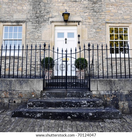 Exterior of an Attractive English Town House Built Circa 1750 - stock photo