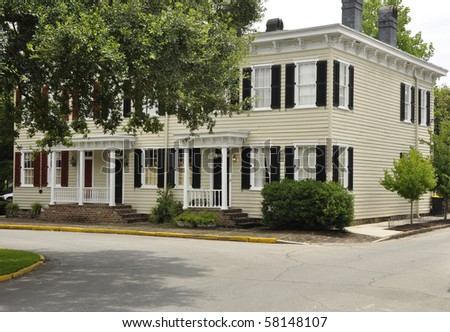 Exterior of an old large historic house in Savannah, Georgia. - stock photo