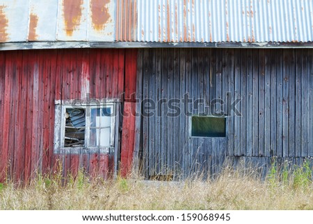 Exterior of an old weathered shed