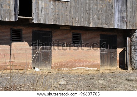 exterior of an old worn barn