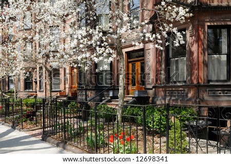 Exterior of Back Bay brownstones in the spring - stock photo
