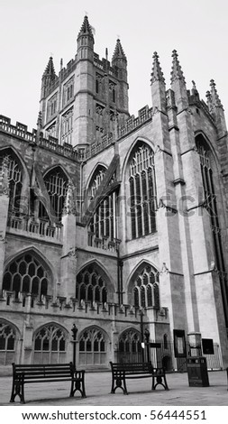 Exterior of Bath Abbey in Black and White