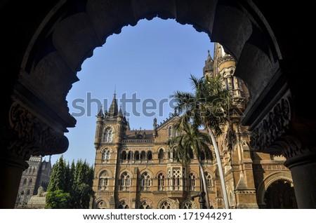 Exterior of Chhatrapati Shivaji Terminus (Victoria Terminus) of Mumbai - stock photo