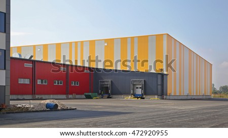 Exterior of Colorful Distribution Warehouse Building