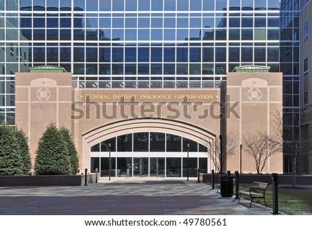 Exterior of Federal Deposit Insurance Corporation building in Arlington, VA - stock photo