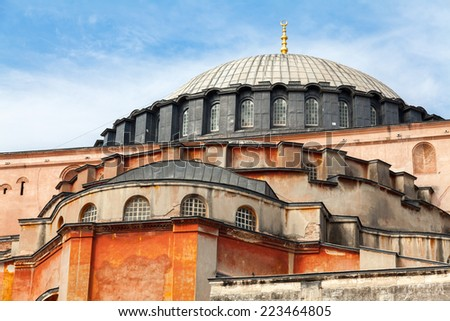 Exterior of Hagia Sofia church in Istanbul, Constantinople, Turkey - stock photo