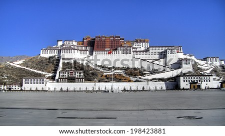 Exterior of holy Potala Palace in Lhasa, Tibet, China - stock photo