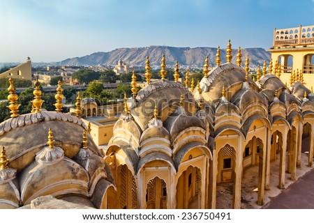 Exterior of Jaipur City Palace, India. - stock photo