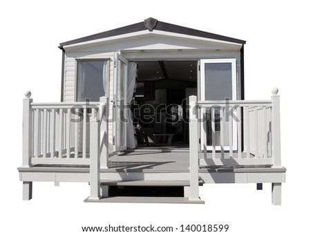 Exterior of luxurious modern caravan with open doors. - stock photo