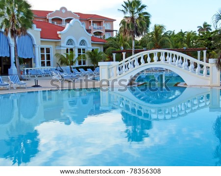 Exterior of luxury hotel, picture taken during the morning, Cuba. - stock photo