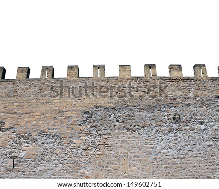 Exterior of medieval castle showing battlements. isolated on white background - stock photo