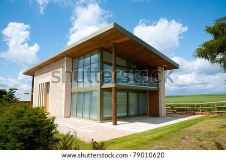 exterior of  modern house - stock photo