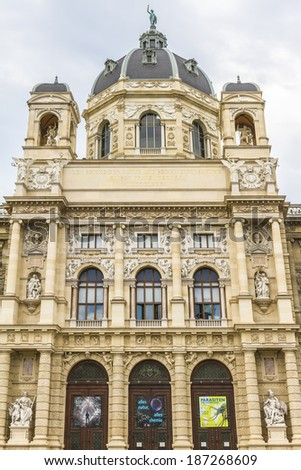 Exterior of museum of Natural History (Imperial Naturhistorisches Museum, 1872 -1889) on the Ring strasse in Vienna, Austria.
