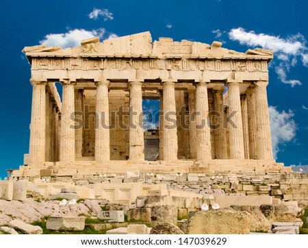 Exterior of Parthenon temple in Acropolis, Athens, Greece.