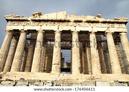 Exterior of Parthenon temple in Acropolis, Athens, Greece.  - stock photo