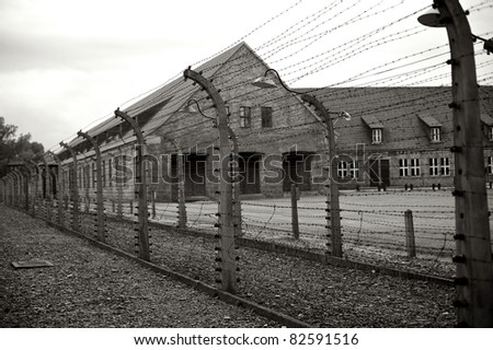 Exterior of prisoner huts at Auschwitz, Poland - stock photo