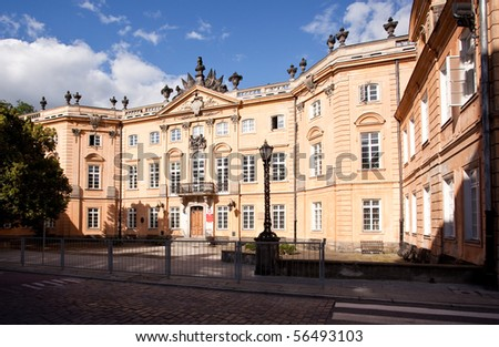 Exterior of Saphiehow Palace in Warsaw Poland