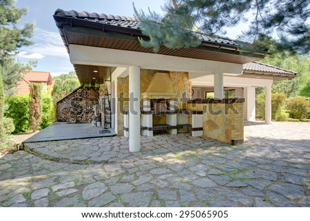 Exterior of single-family house with patio - stock photo