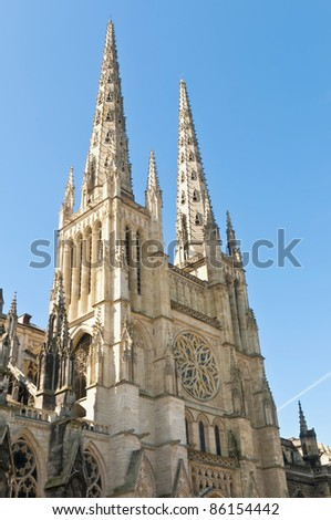 Exterior of the Cathedral of Saint Andre located at Bordeaux, France - stock photo
