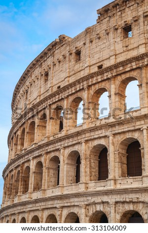 Exterior of the Colosseum or Coliseum, also known as the Flavian Amphitheatre, vertical photo
