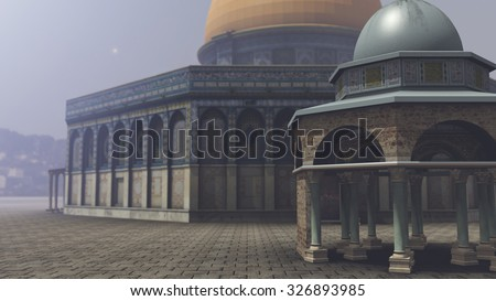 Exterior of the Dome of the Rock in Jerusalem. 3D rendering - stock photo