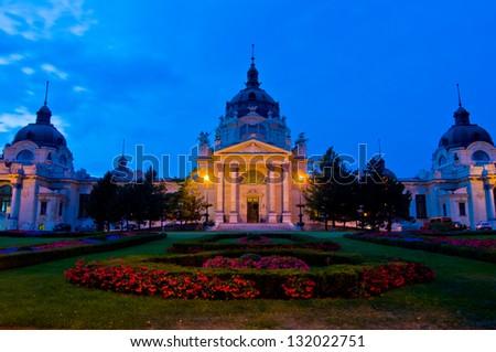 exterior of the famous bath Szechenyi Fuerdo in Budapest - stock photo