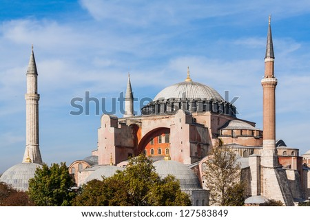 Exterior of the Hagia Sophia in Sultanahmet, Istanbul, on a sunny day. - stock photo