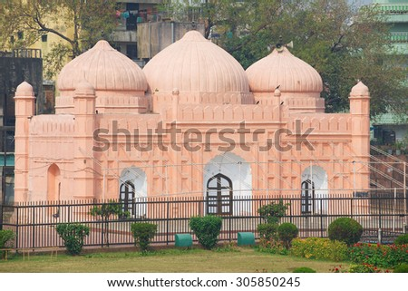 Exterior of the Lalbagh Fort Mosque, Dhaka, Bangladesh. - stock photo