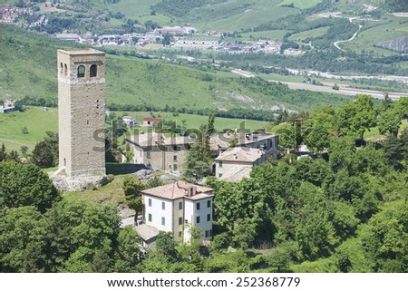 Exterior of the medieval basilica in San Leo, Italy.  - stock photo