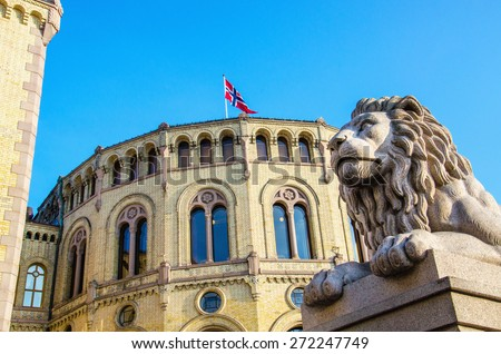 Exterior of the Norwegian Parliament (Stortinget) in Oslo, Norway - stock photo