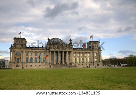 Exterior of the Reichstag building in Berlin, Germany