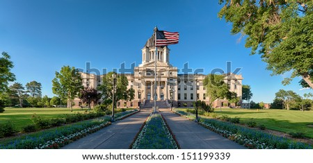 Exterior of the South Dakota State Capitol building on a clear, summer day - stock photo