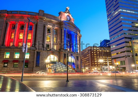 Exterior of the South Station at twilight, in Boston, Massachusetts. - stock photo