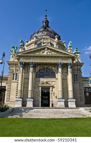 exterior of the Szechenyi F?rdo in Budapest on a sunny day - stock photo